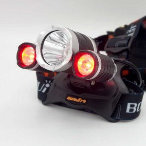 waterproof headlight with white and red light