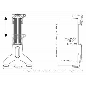 ROKK tablet mount dimensions